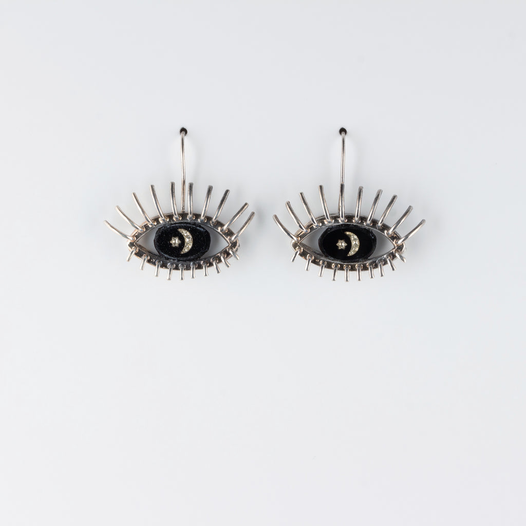 """20/20"" // SILVER EARRINGS // BLACK & WHITE INTAGLIO"