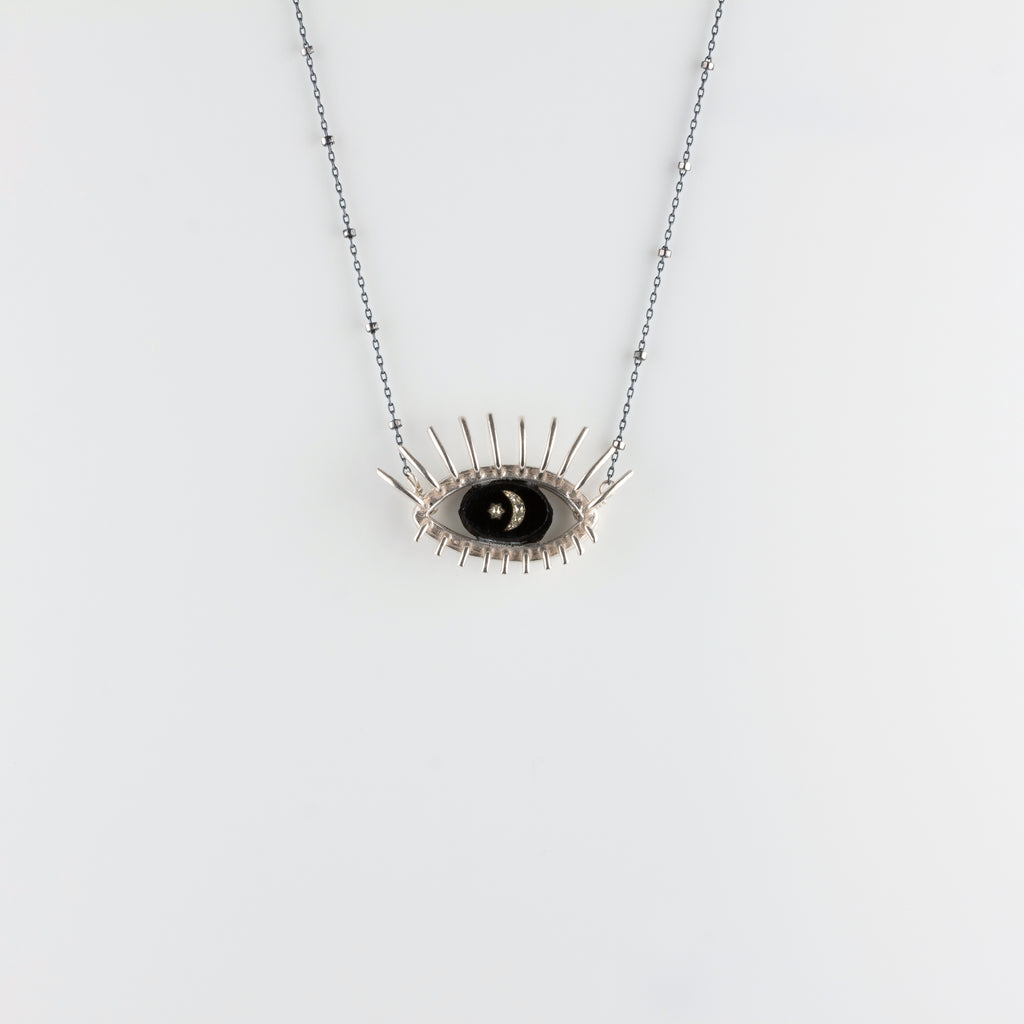 """20/20"" // SILVER NECKLACE // BLACK & WHITE INTAGLIO"