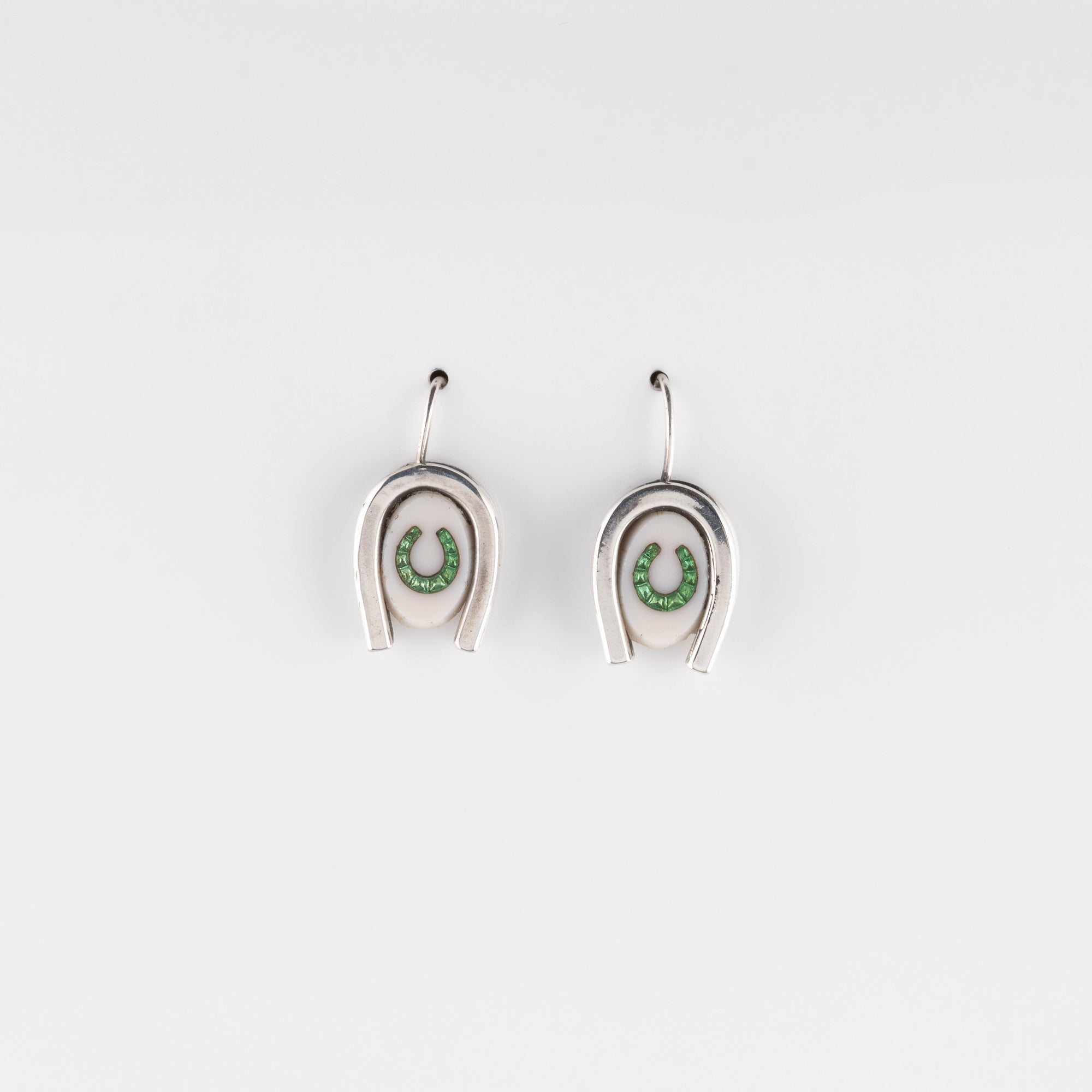 DOUBLE LUCK // SILVER EARRINGS // WHITE & GREEN