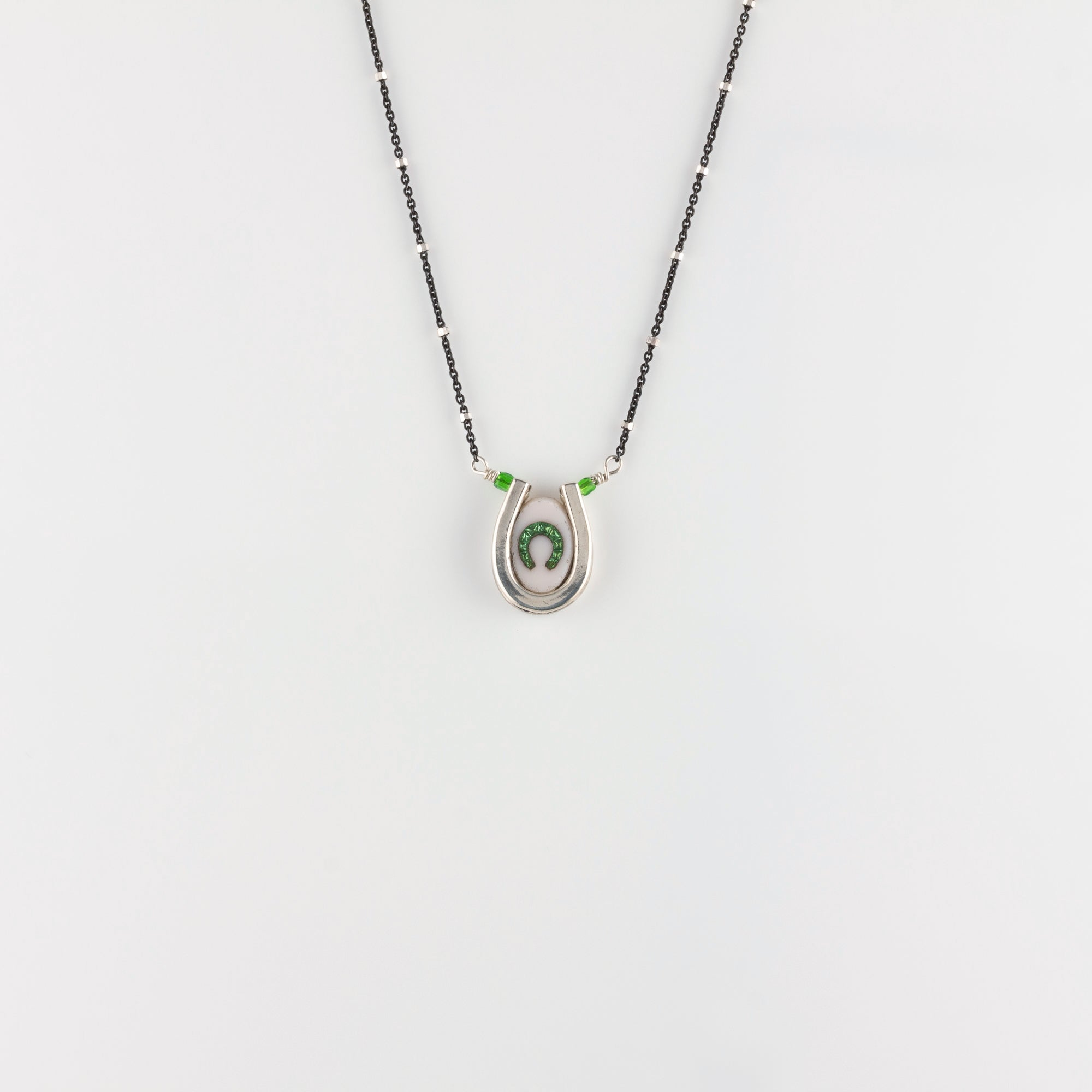 DOUBLE LUCK // SILVER NECKLACE // WHITE & GREEN