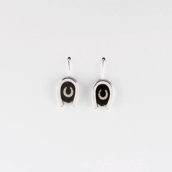 DOUBLE LUCK // SILVER EARRINGS // BLACK & WHITE