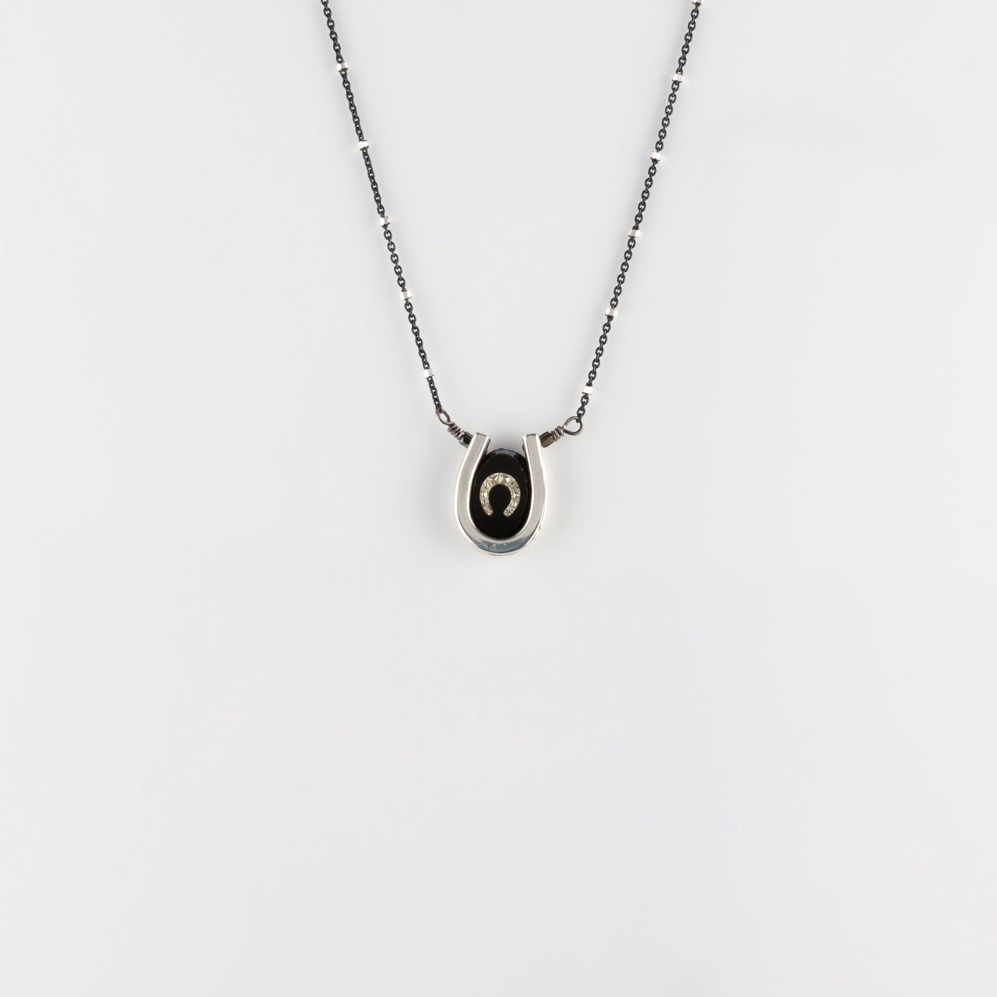 DOUBLE LUCK // SILVER NECKLACE // BLACK & WHITE
