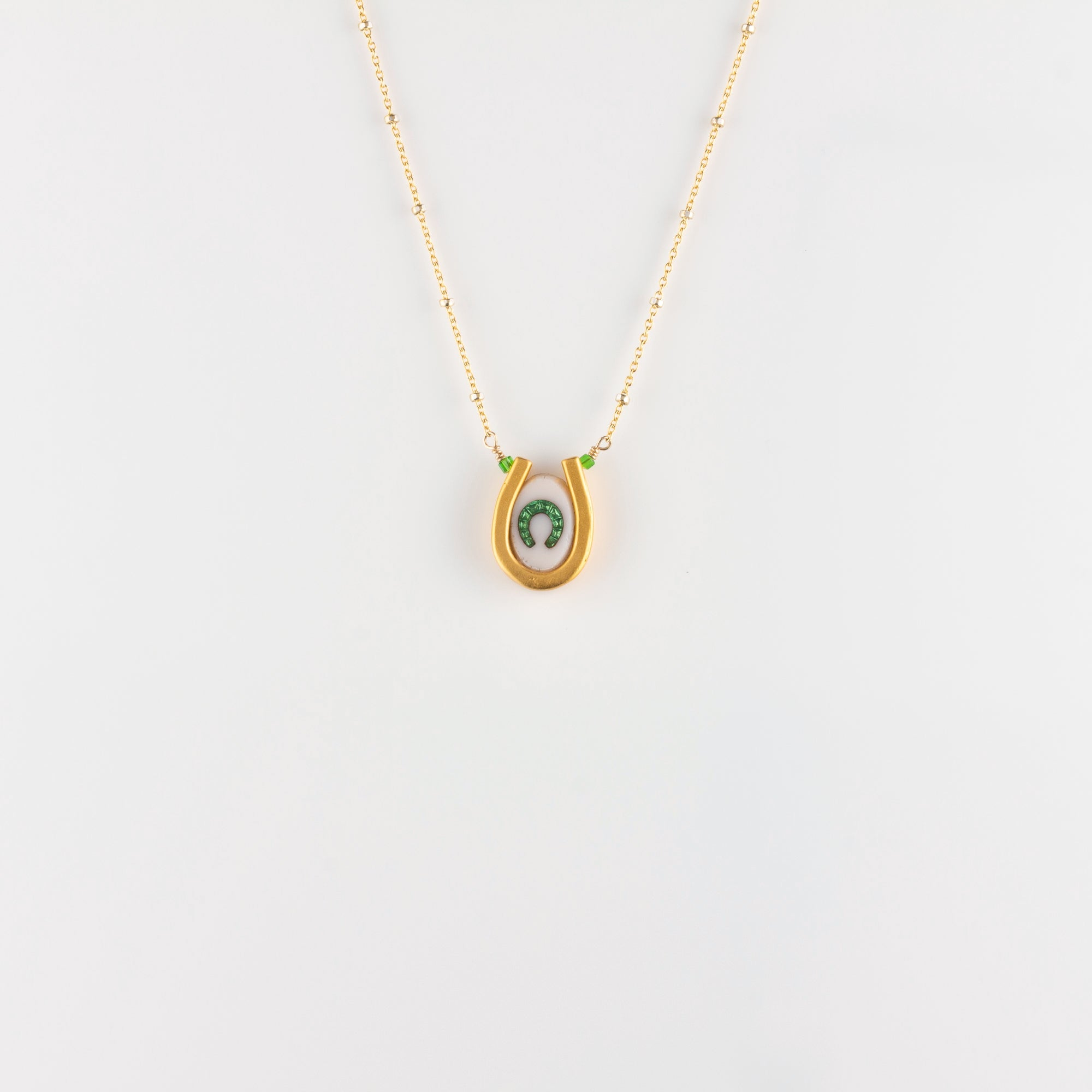 DOUBLE LUCK // VERMEIL NECKLACE // WHITE & GREEN