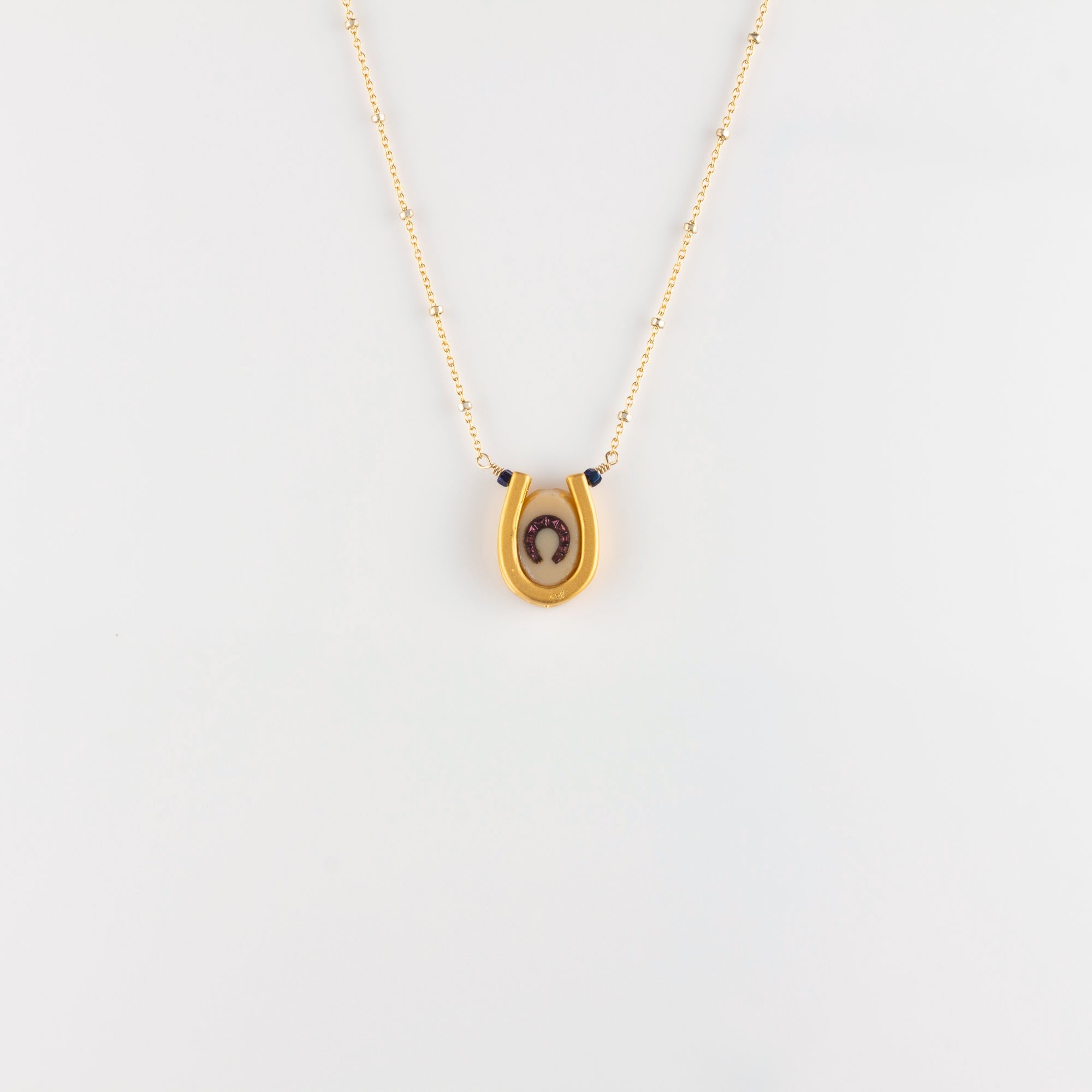 DOUBLE LUCK // VERMEIL NECKLACE // CREAM & PINK