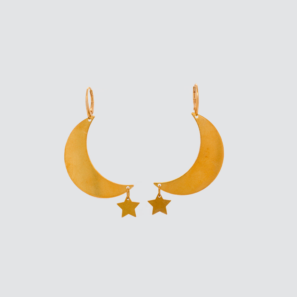 DELUXE BRASS EARRINGS // MOON & STAR