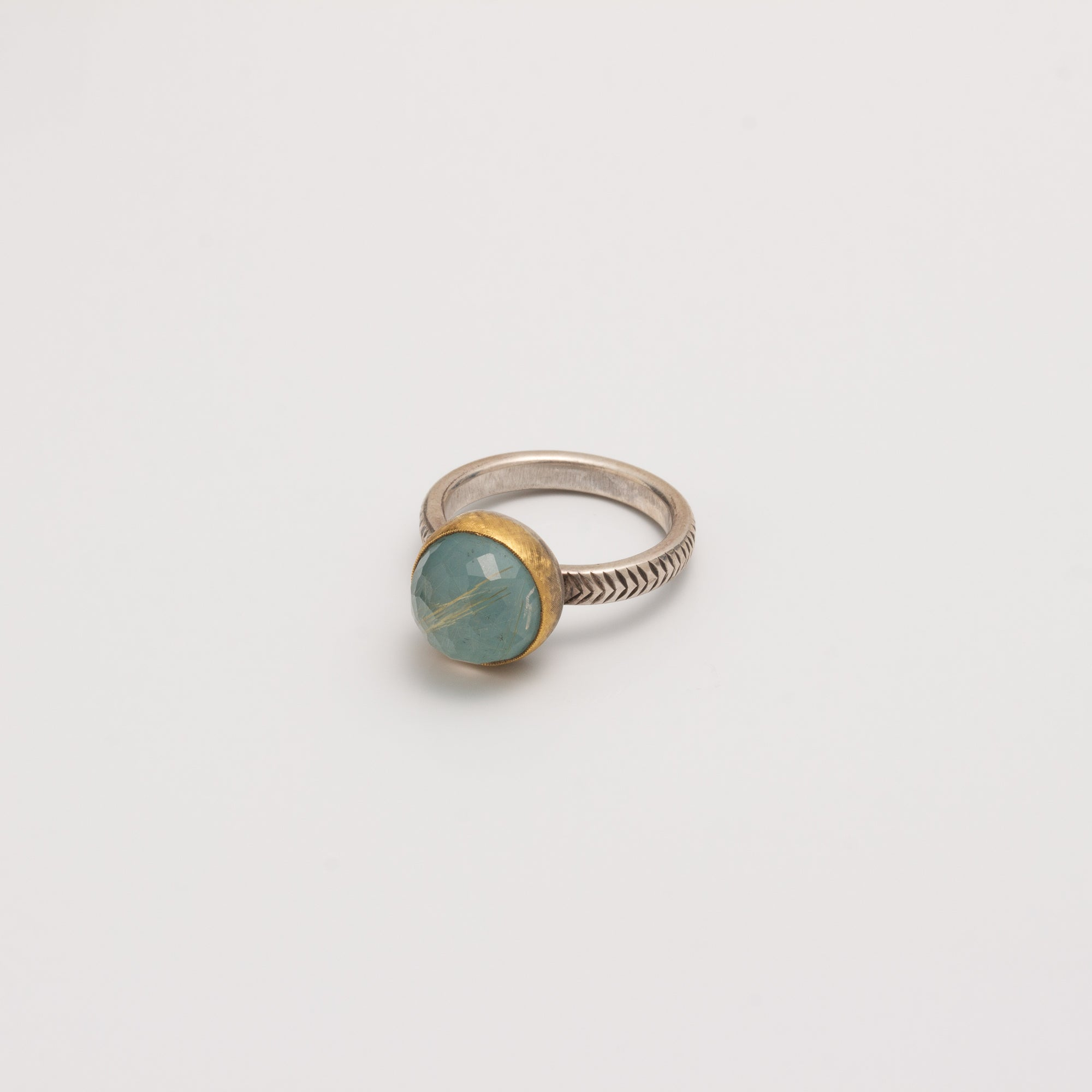 FEATHER ENGRAVED RING // RUTILATED QUARTZ & TURQUOISE