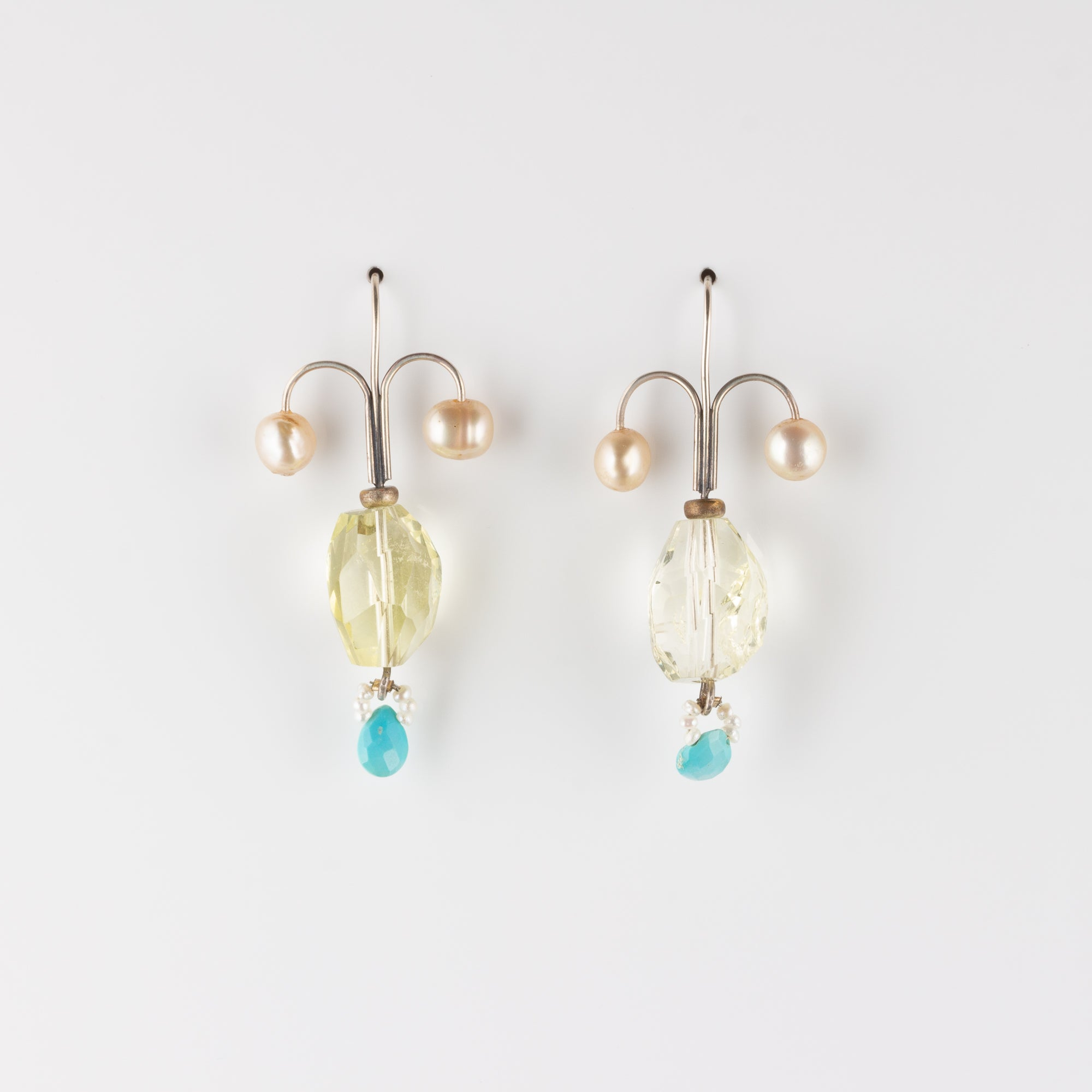 FIONA // PEARL, LEMON QUARTZ & TURQUOISE EARRINGS