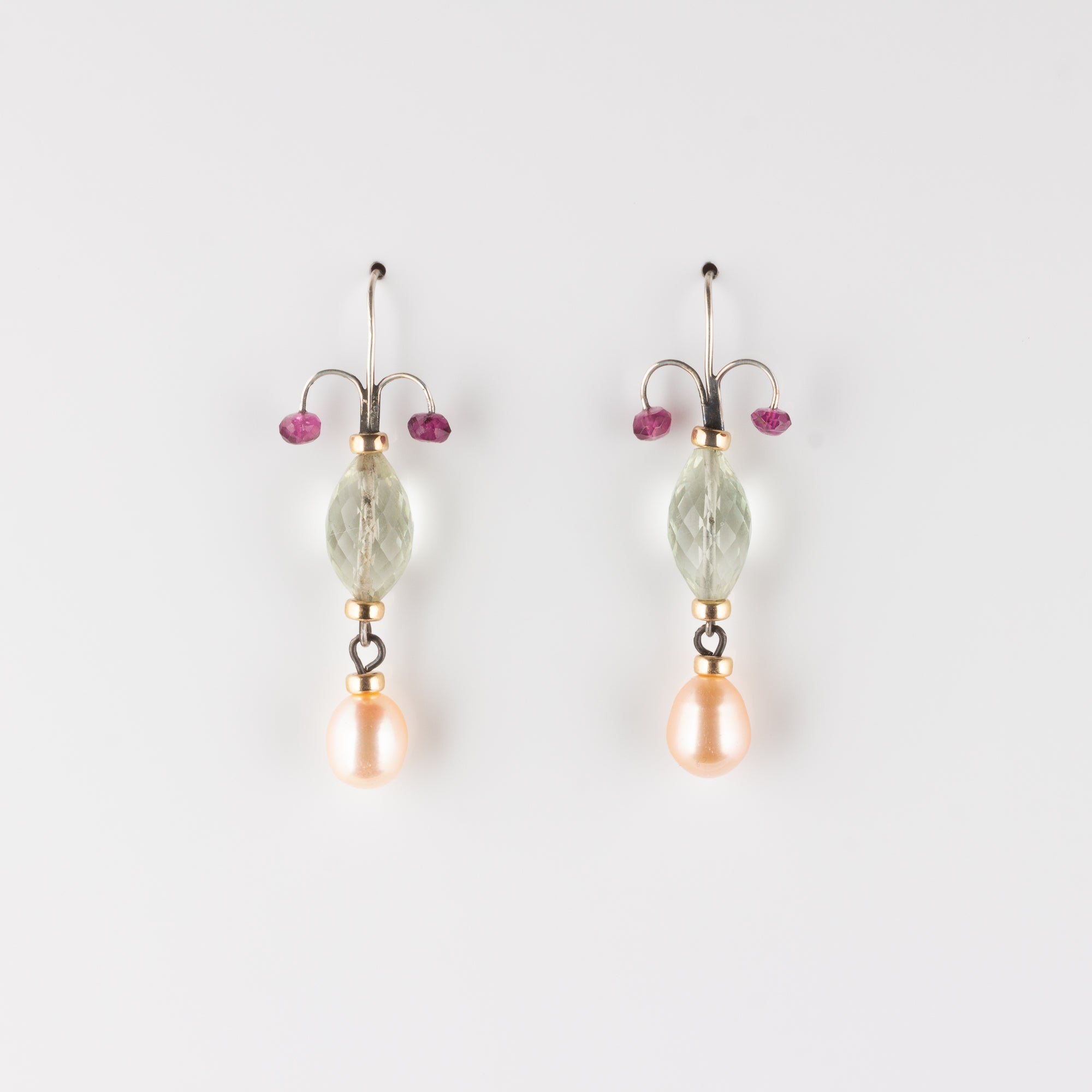 FIONA // PEARL, GREEN AMETHYST & TOURMALINE EARRINGS
