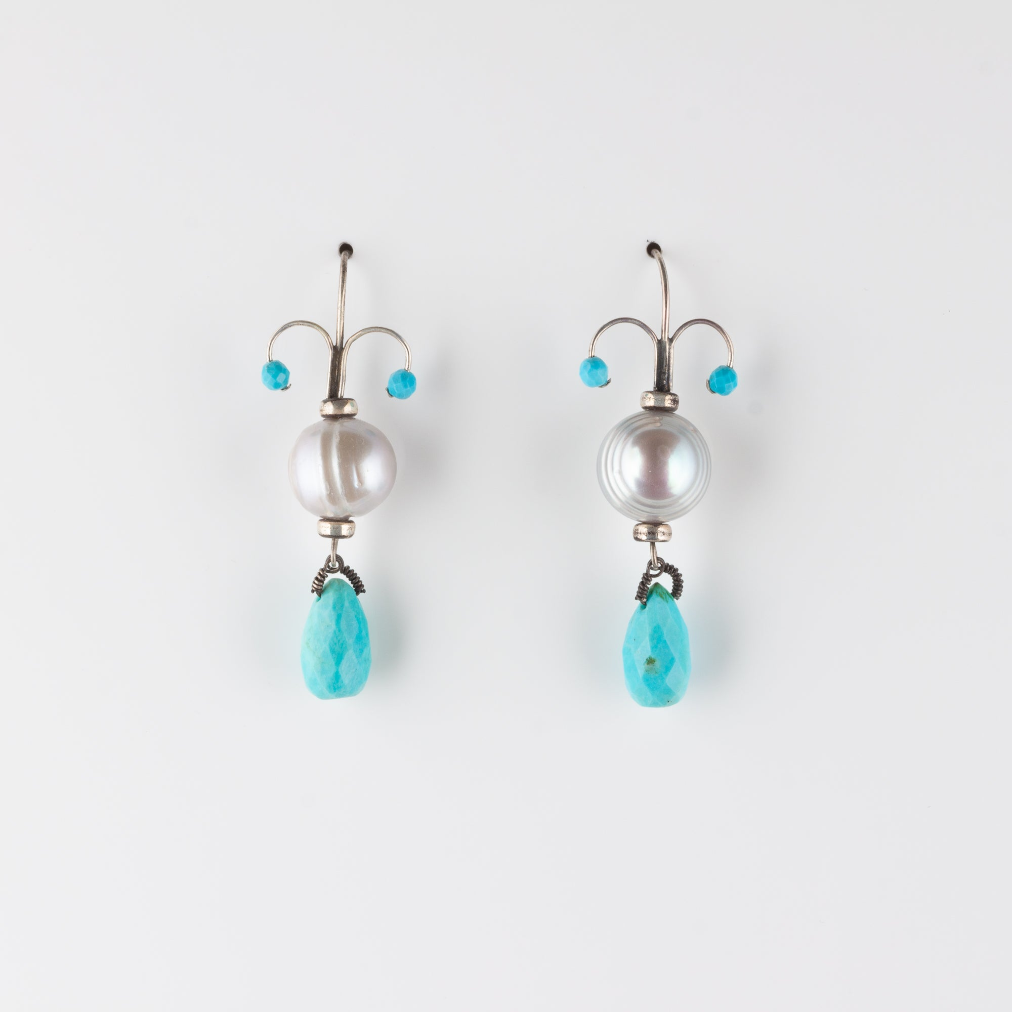 FIONA // GREY FRESHWATER PEARL & TURQUOISE EARRINGS