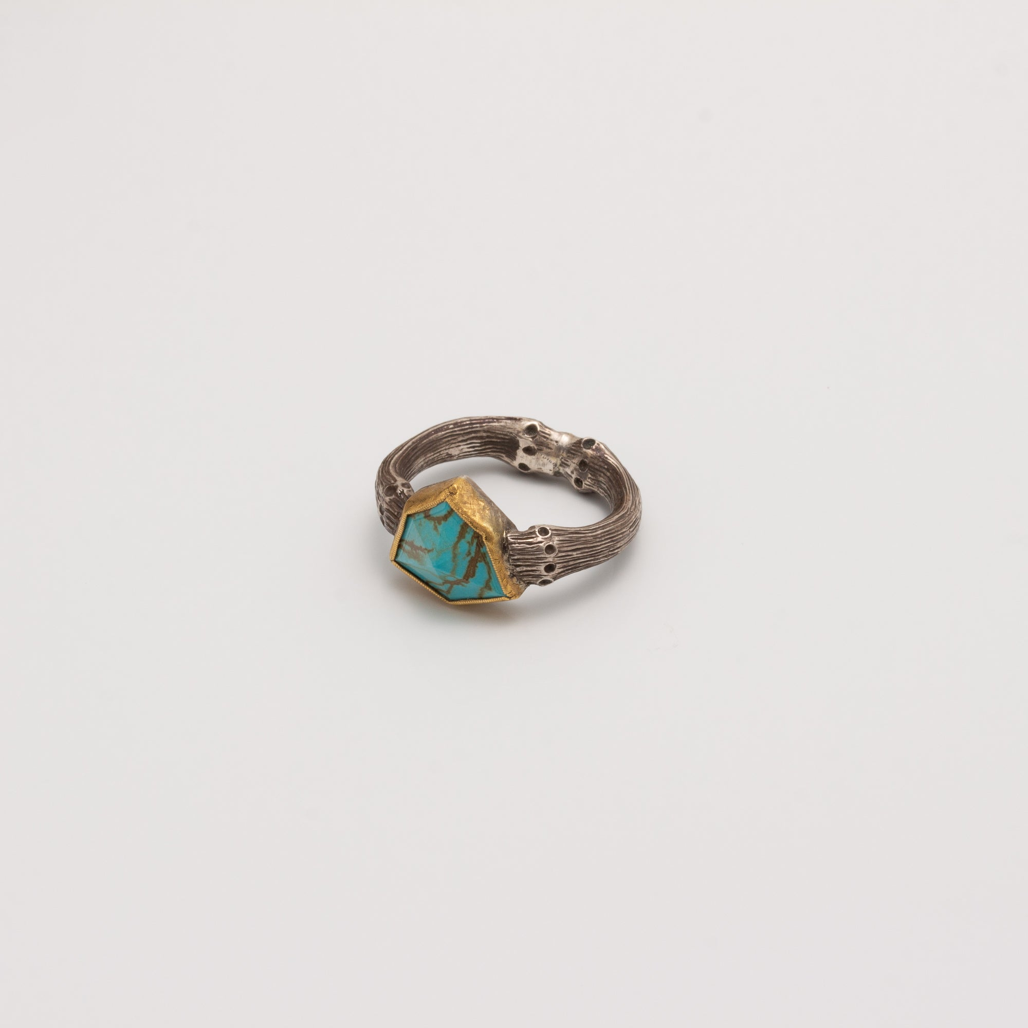 TURQUOISE SHIELD RING // BAMBOO BAND