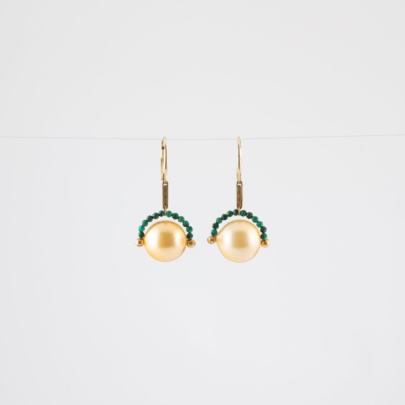 NOISE CANCELLING PEARL EARRINGS // MALACHITE