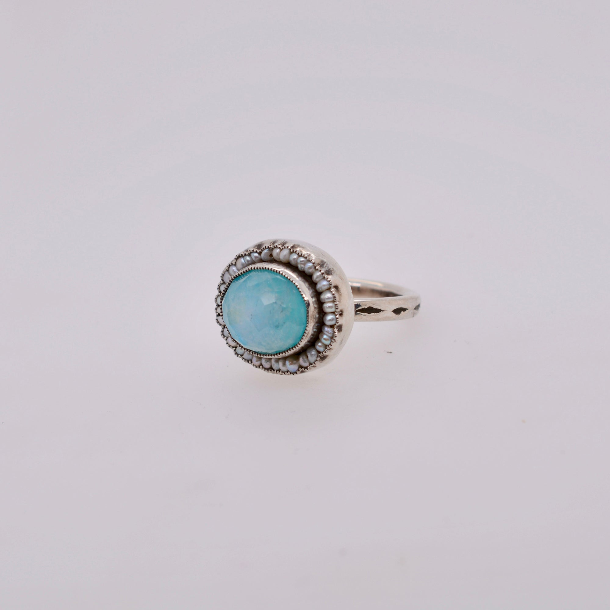 HEIRLOOM RING //  PEARL // TURQUOISE // RUTILATED QUARTZ