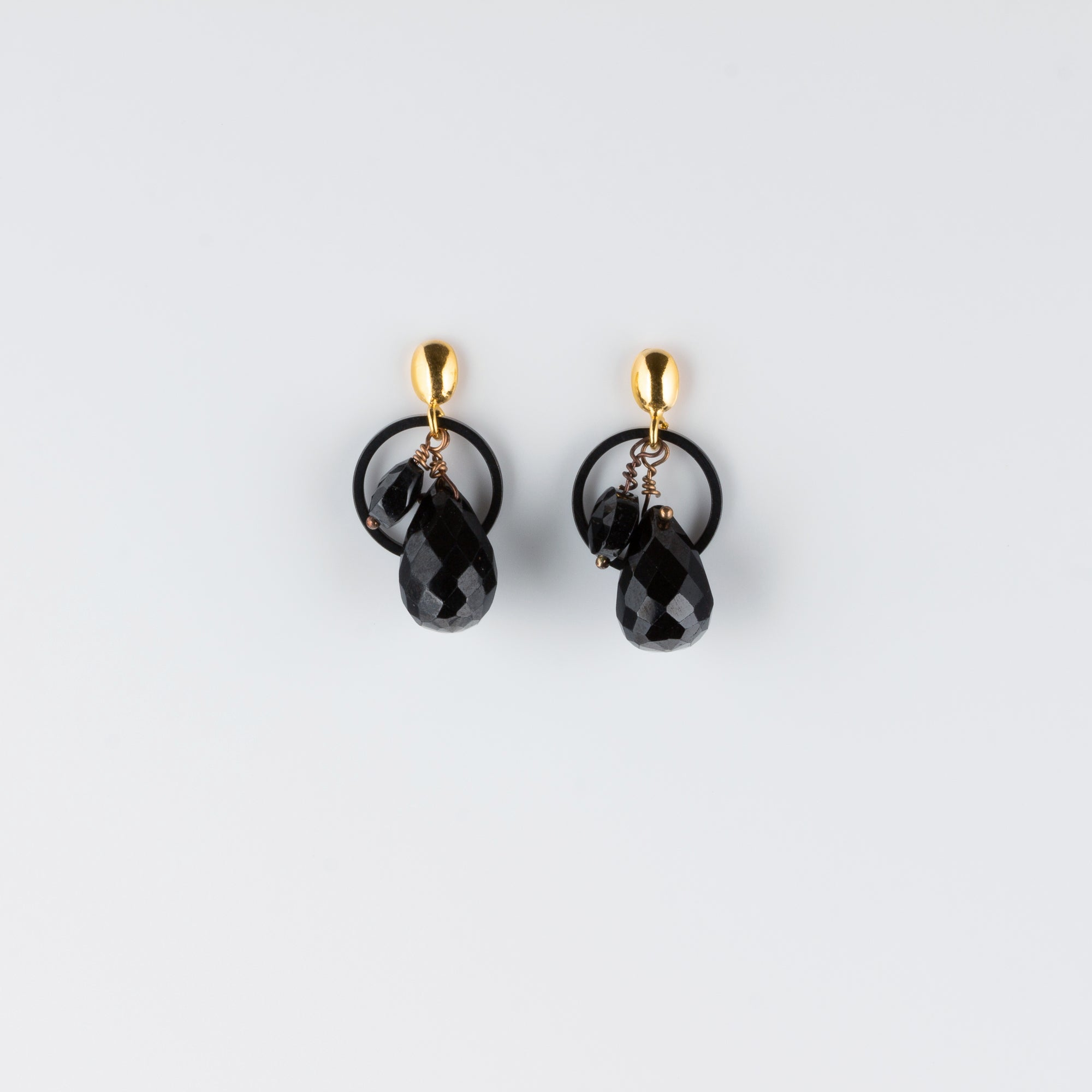 VERMEIL POST EARRINGS // BLACK SPINEL