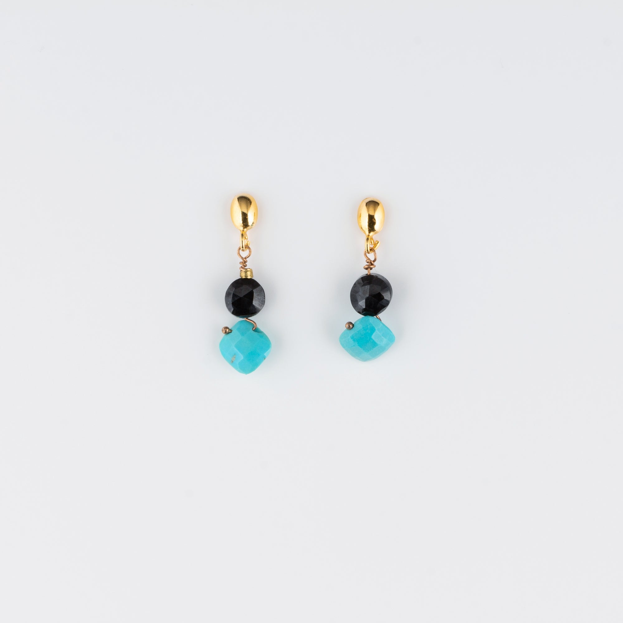 VERMEIL POST EARRINGS // TURQUOISE & SPINEL