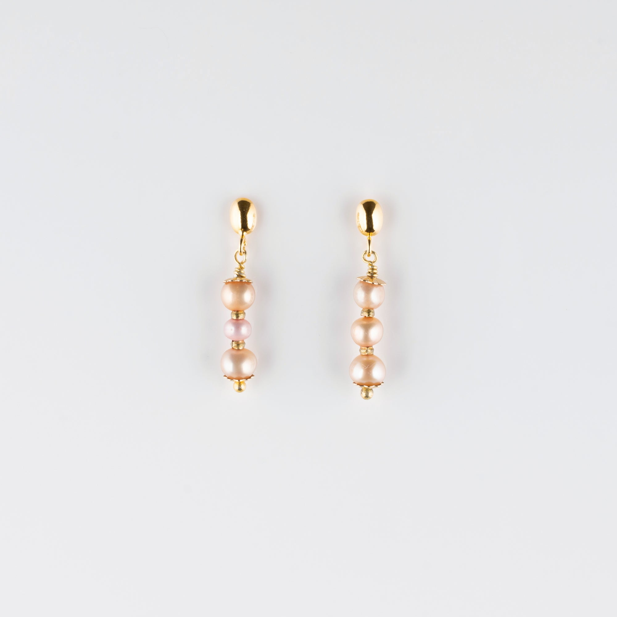 VERMEIL POST EARRINGS // TRIPLE PEARL