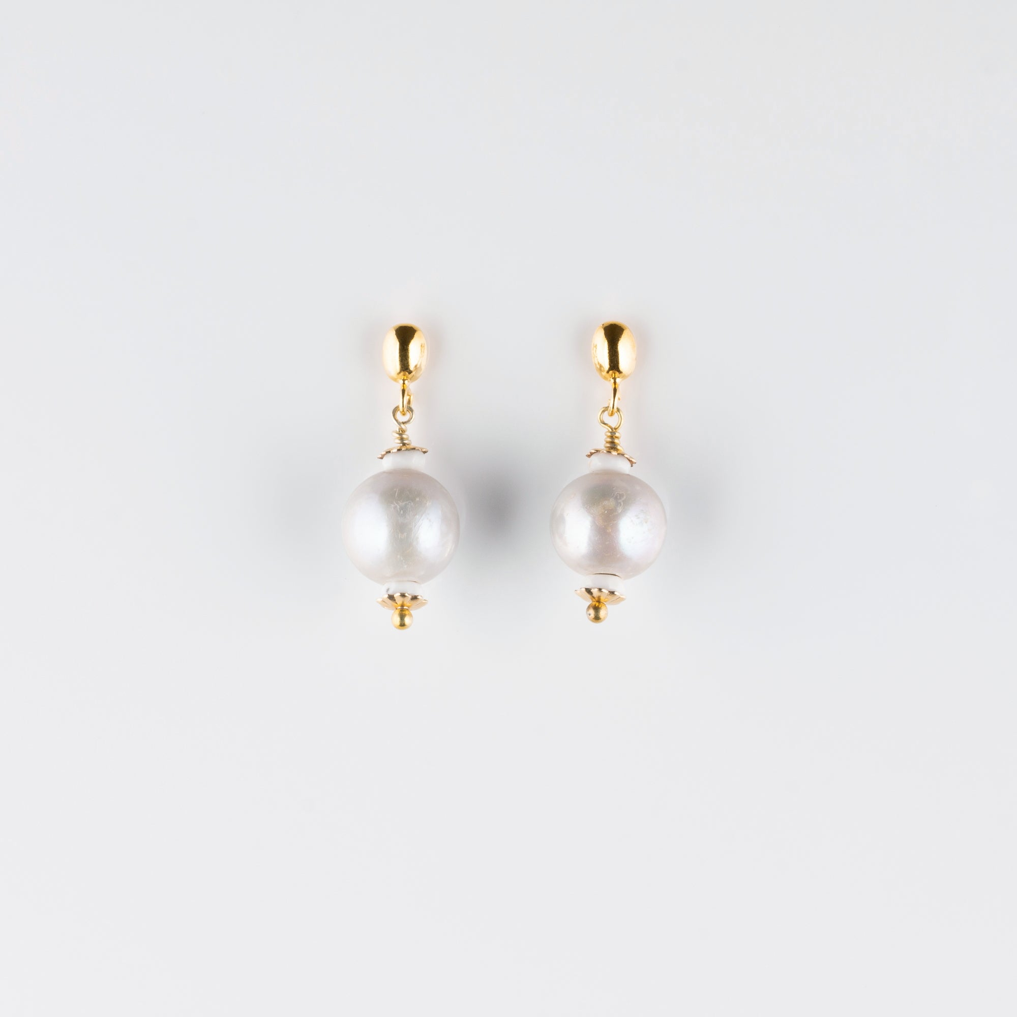 VERMEIL POST EARRINGS // PEARL