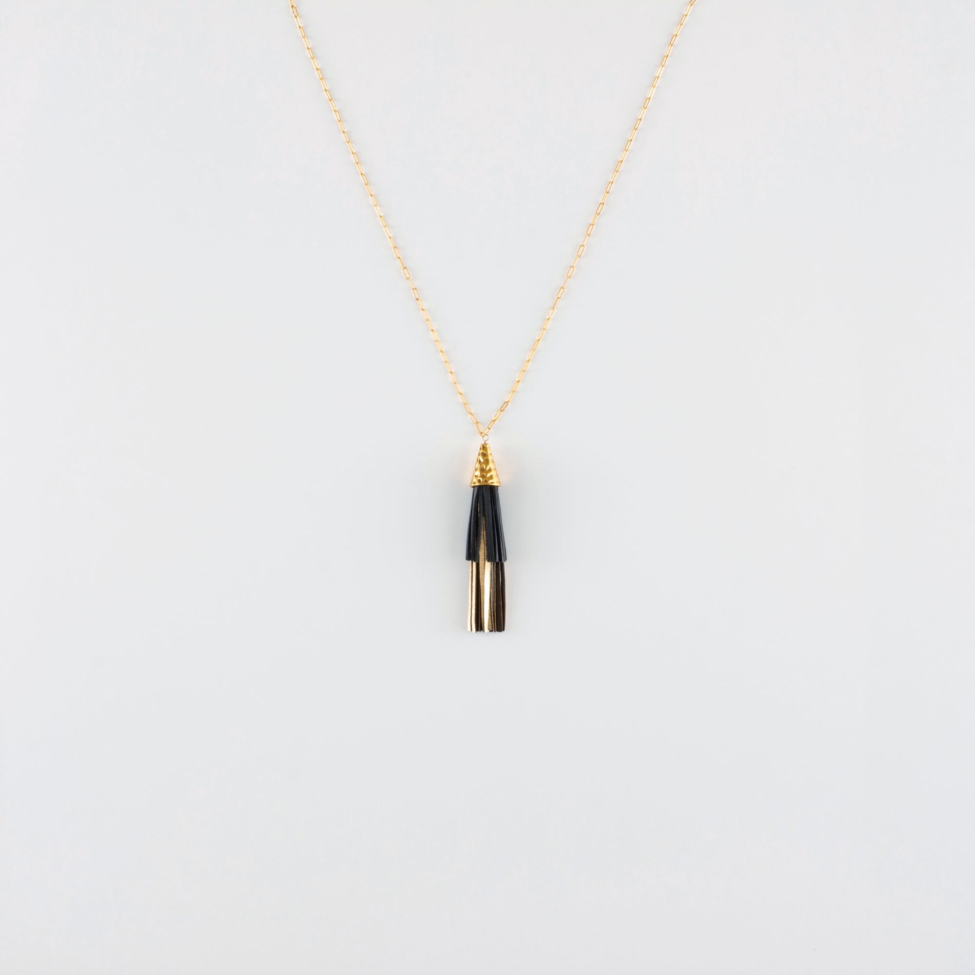 LEATHER DUO TASSEL NECKLACE // GOLD COAST