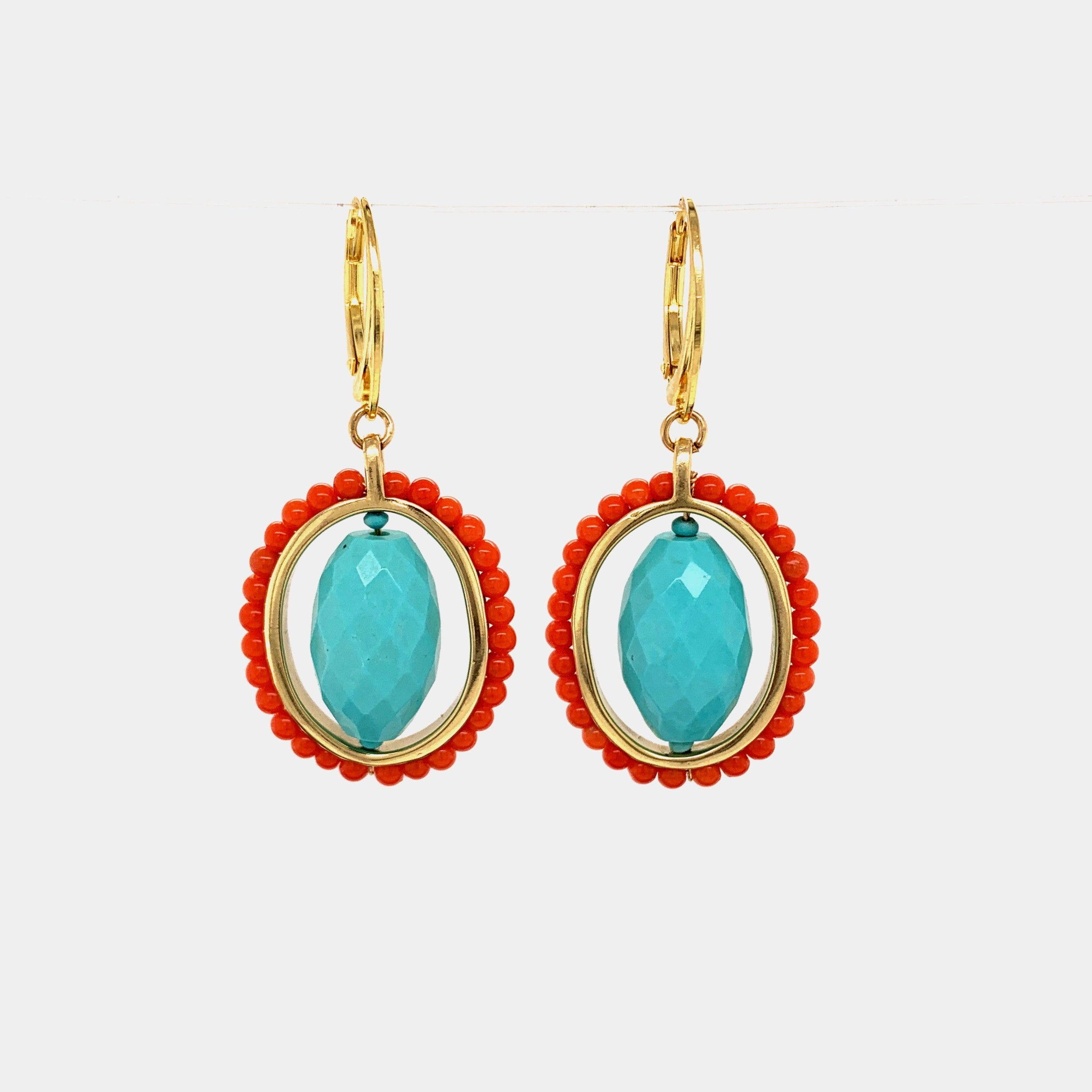 VICTORIAN EARRINGS // TURQUOISE // CORAL