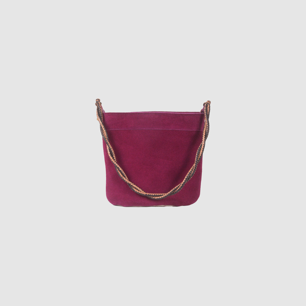 SUEDE BUCKET BAG // FUCHSIA