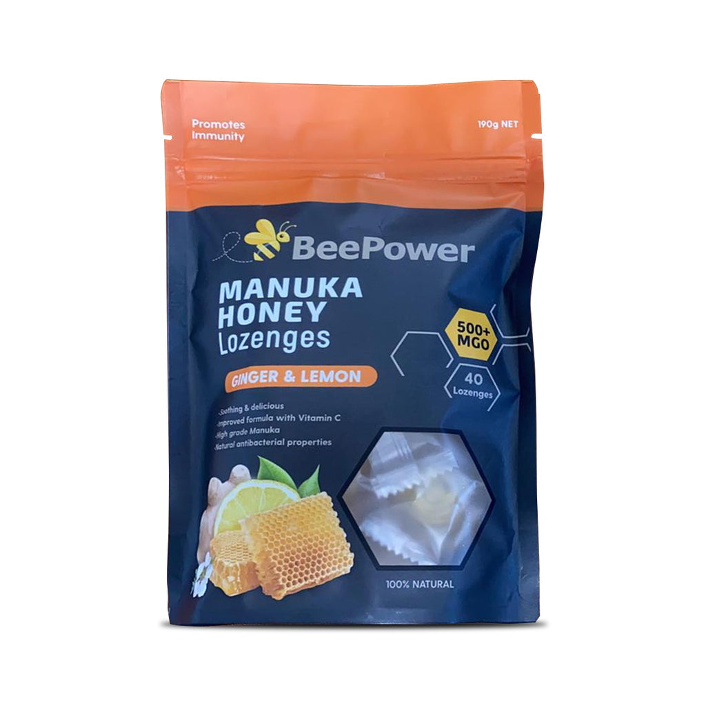 BeePower Manuka MGO500+ Ginger Lemon Lozenges 40pc 190g - Mudgee Honey Haven