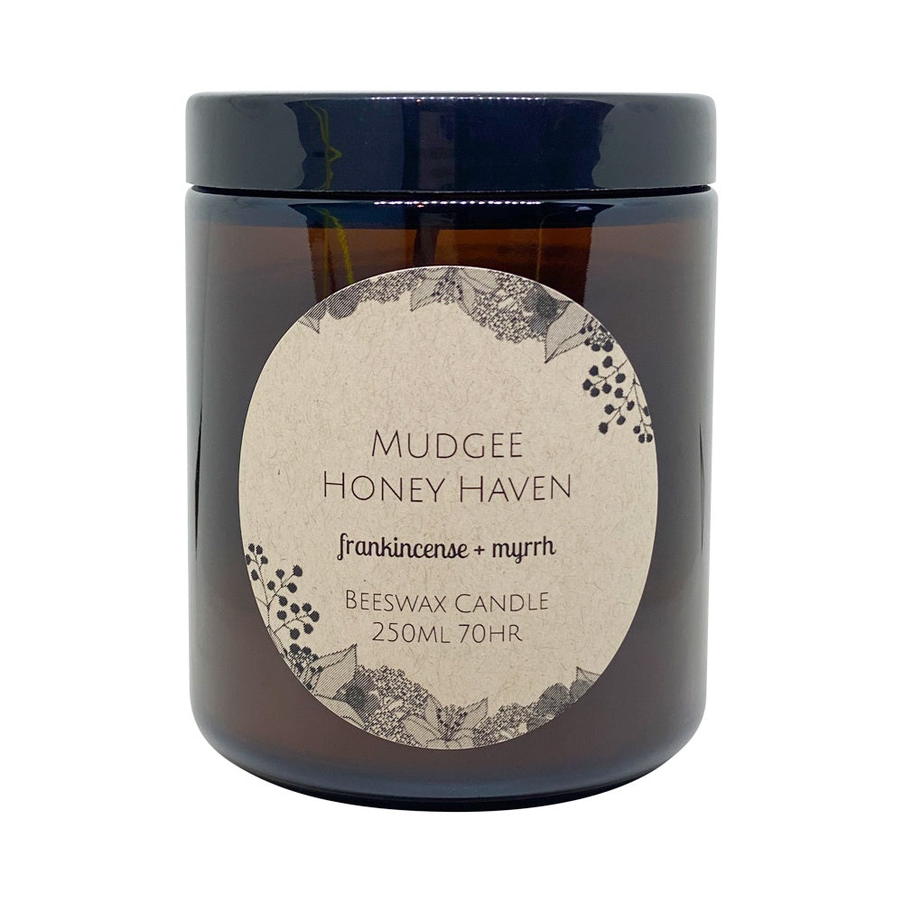 Beeswax Candle Frankincense & Myrrh 250ml - Mudgee Honey Haven