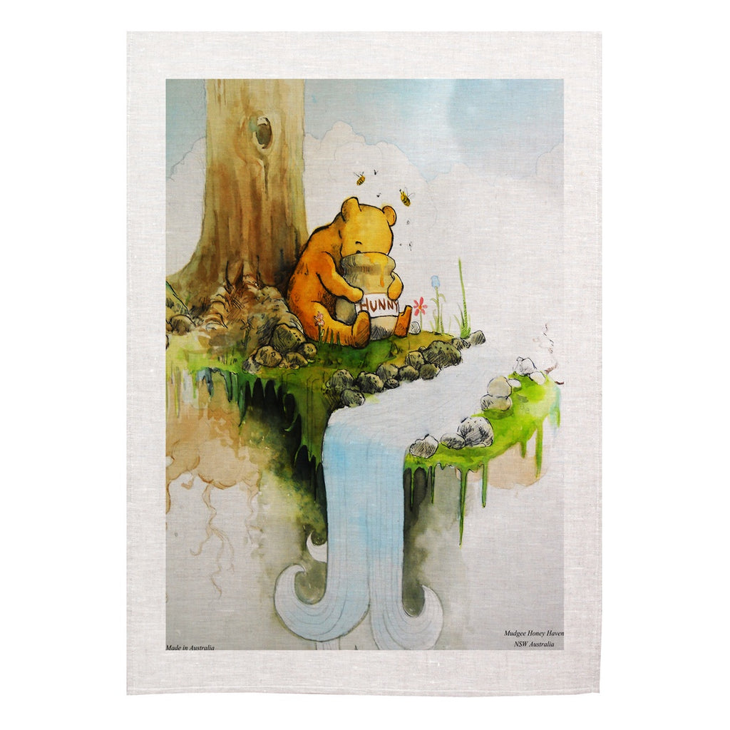 "Winnie the Pooh Tea Towel ""Eating honey out of a pot"" - Mudgee Honey Haven"