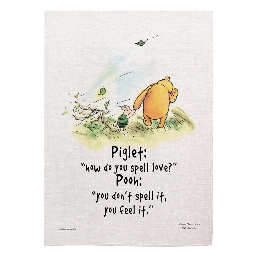 "Winnie the Pooh Tea Towel ""How do you spell love?"" - Mudgee Honey Haven"
