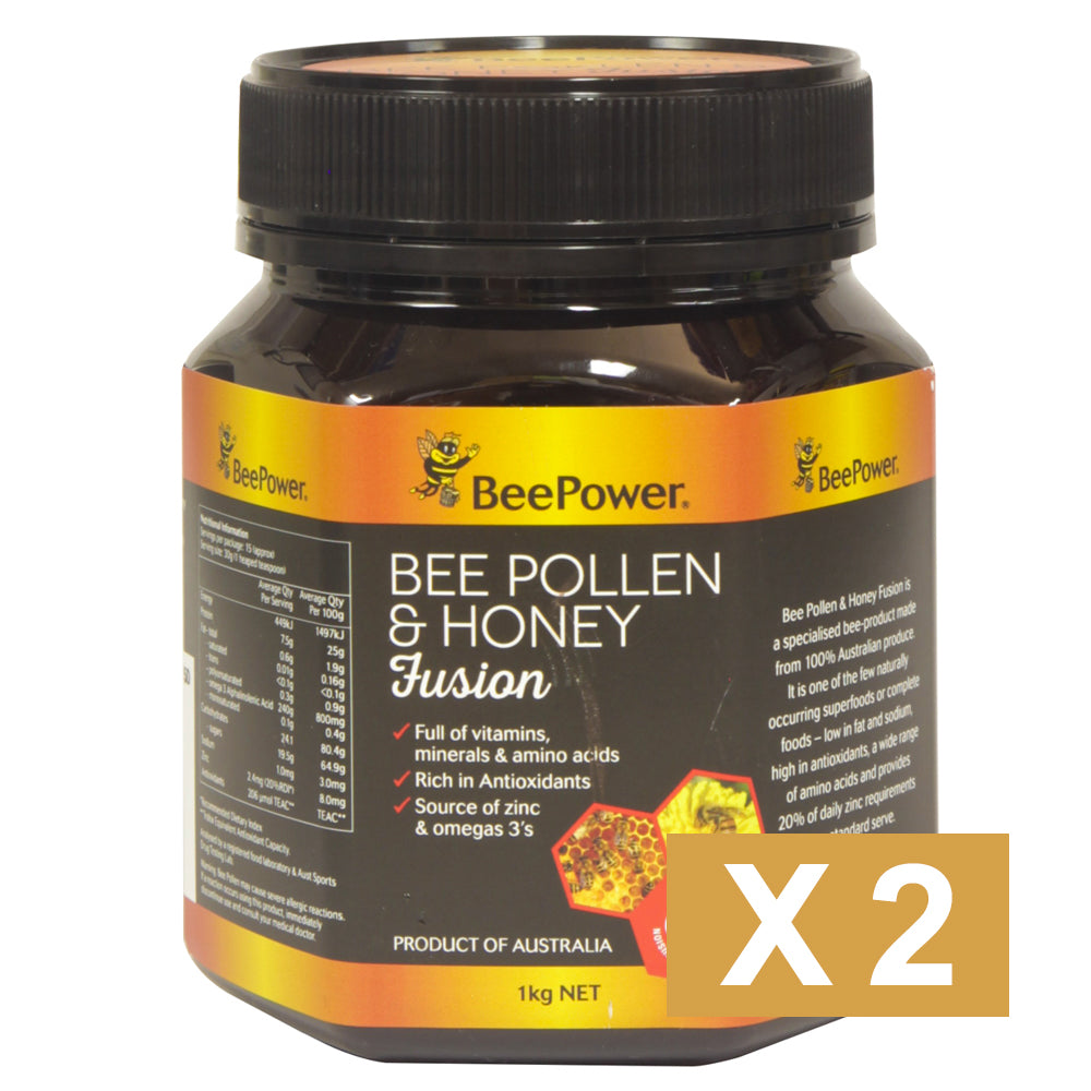 Beepower Pollen & Honey Fusion 1kg  x 2 - Mudgee Honey Haven