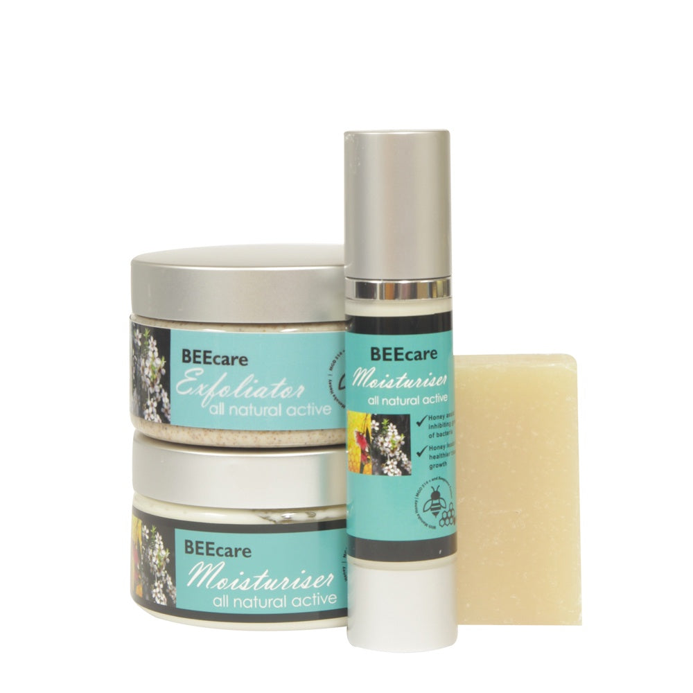 Beecare Exfoliator Moisturiser and Pump + Free Soap - Mudgee Honey Haven