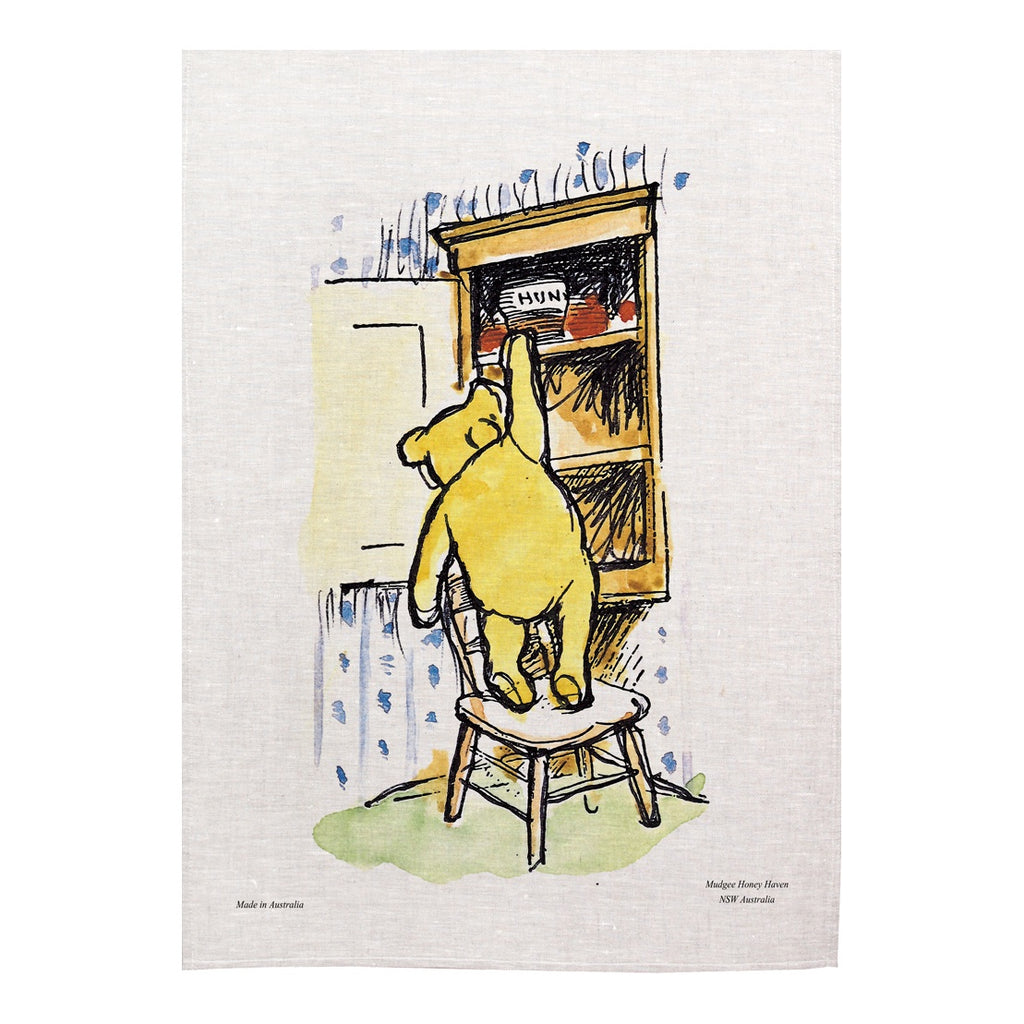 "Winnie the Pooh Tea Towel ""Reaching for honey"" - Mudgee Honey Haven"
