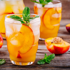 Peaches and mint