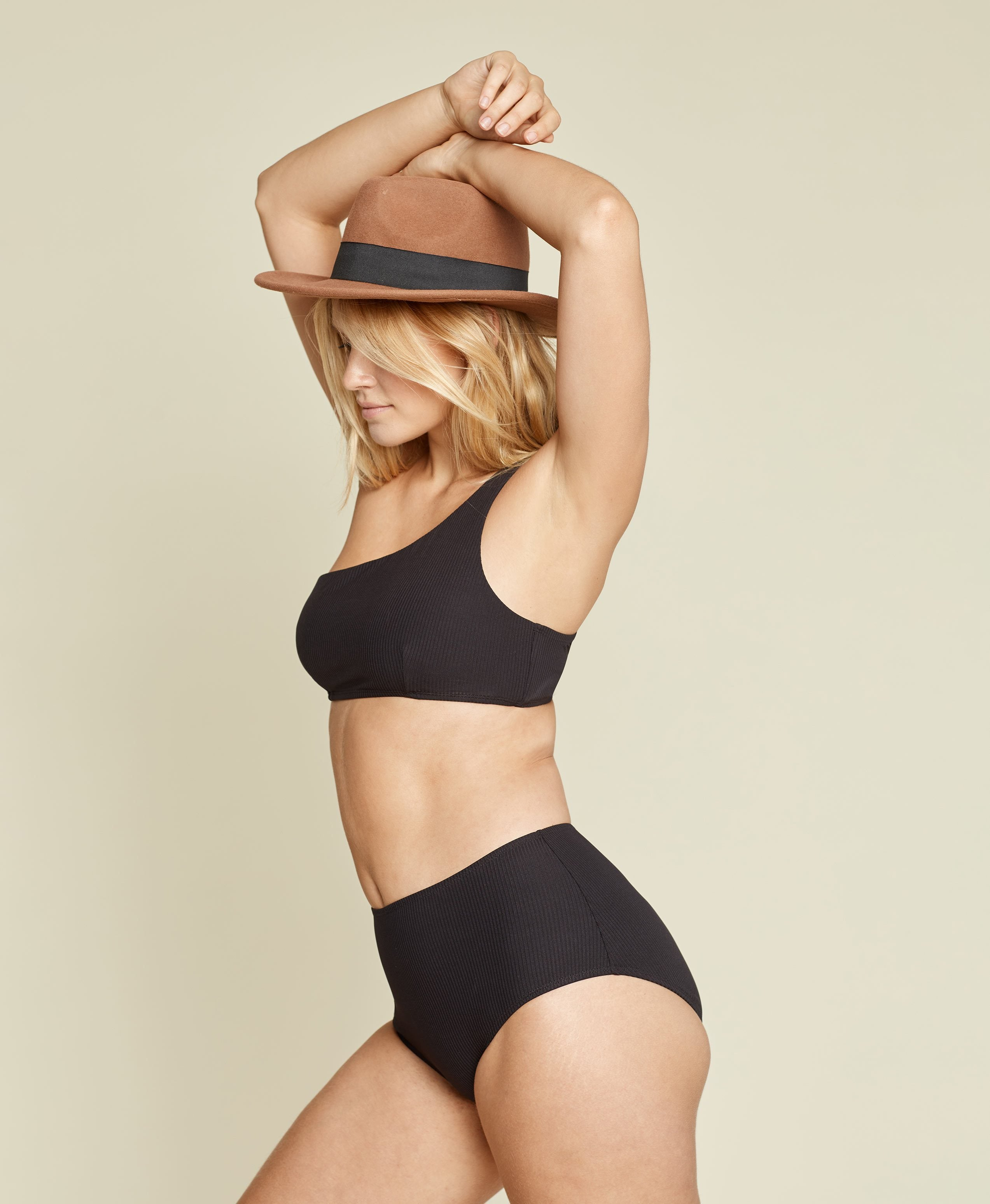 The High - Waisted Bottom - Ribbed - Black