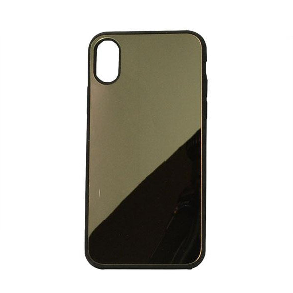 FUNDA IPHONE X XS CON SUPERFICIE DE ESPEJO DORADO
