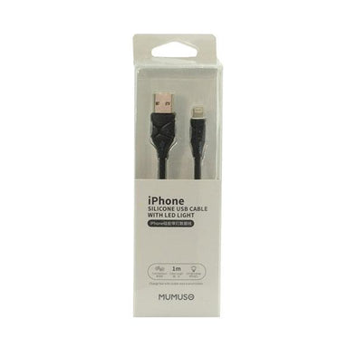 CABLE IPHONE USB SILICONE CON LUZ LED NEGRO