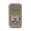 FUNDA BORDADA CROWNED PIG GRIS IPHONE X XS