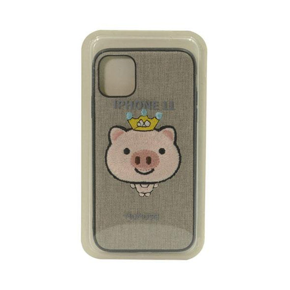 FUNDA BORDADA CROWNED PIG GRIS IPHONE 11