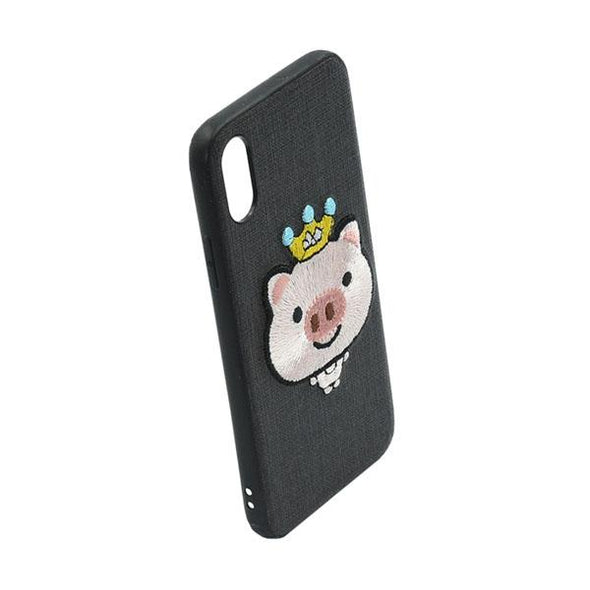 FUNDA BORDADA CROWNED PIG NEGRA IPHONE X/XS