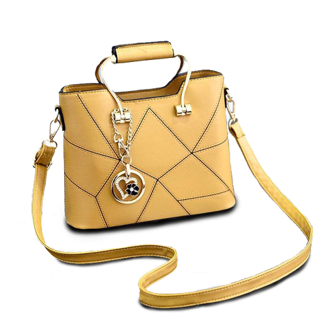 Geometric Handbag with Contrast Stitching - The Bag Culture