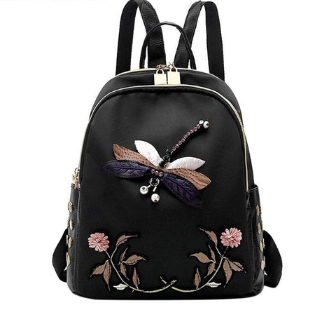 Dragonfly & Flowers Embroidered Backpack - The Bag Culture