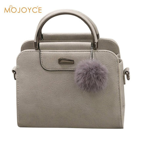 Solid Tote Handbag with Fur Ball - The Bag Culture