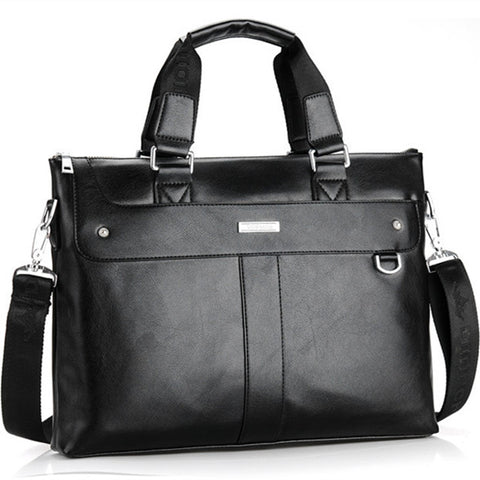 Men Casual Briefcase Business Shoulder Bag Leather - The Bag Culture
