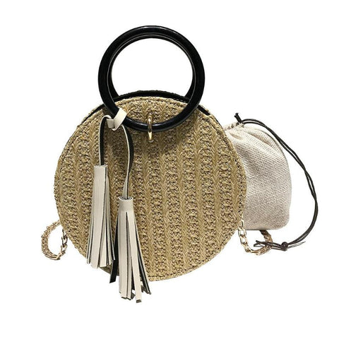 Round Woven Rattan Tassel Handbag - The Bag Culture