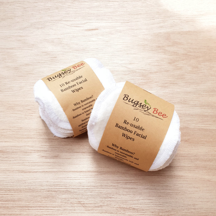 Bamboo Facial Wipes Set of 10 Bugsey Bee