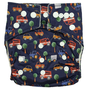 Hippybottomus - Stay Dry Bamboo Cloth Nappy - Cars and Trucks