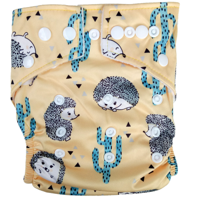 Hippybottomus - Stay Dry Bamboo Cloth Nappy - Hedgehog