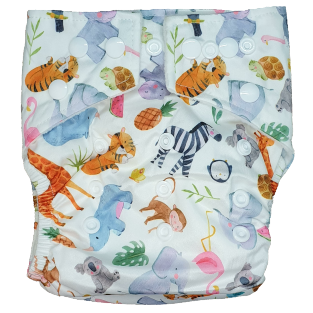 Hippybottomus - Stay Dry Bamboo Cloth Nappy - Summer Friends