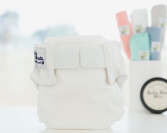 Cloth Nappy with Velcro Arctic White Baby BeeHinds