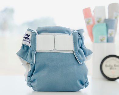 Cloth Nappy with Velcro Ice Blue Baby BeeHinds