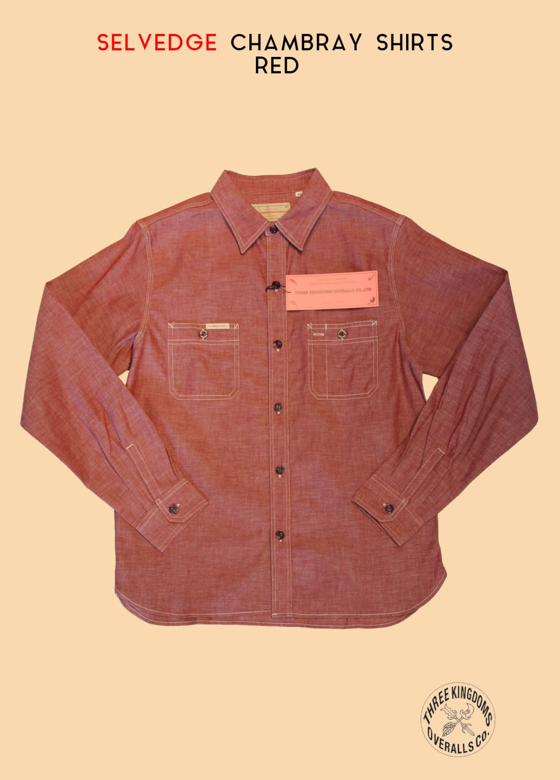 CB01Sr Selvedge Chambray Shirt in Red