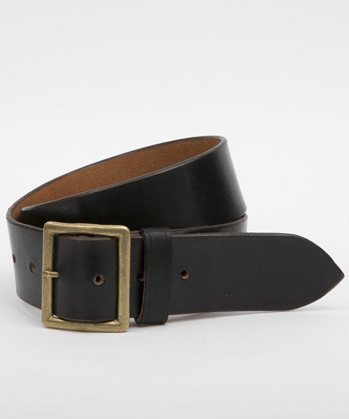 Ragtime Leather Garrison Belt - Black x Brass Buckle